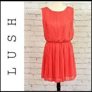 LUSH Coral Sleeveless Grecian Style Mini Dress - L
